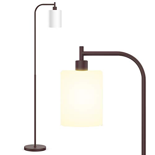 Industrial Floor Lamp, Floor Lamp with White Jade Glass Shade, Bulb Included, Led Floor Lamps for Bedroom, Floor Lamps for Living Room,Satin Finish, in-line On and Off Foot Switch,Copper Oxid Brown
