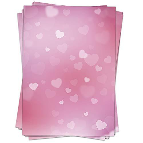 50 Blatt Briefpapier (A4) | Rosa Herzen | Motivpapier | edles Design Papier | beidseitig bedruckt | Bastelpapier | 90 g/m²