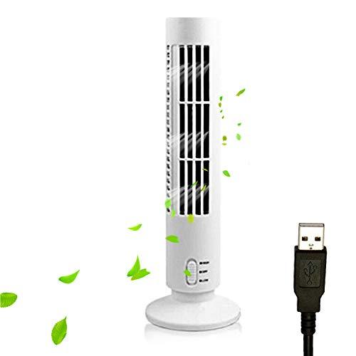 Bedler Ventilador de Torre portátil Silencioso Ventilador eléctrico de 2 velocidades sin Cuchilla Ventilador de Torre Alimentado por USB Ventilador de Aire Acondicionado Vertical para Dormitorio Inte