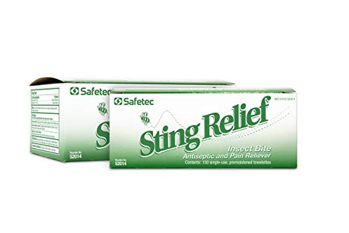Safetec Sting Relief Wipes 150ct Box (2 Pack of 150ct Wipes - 300 Sting Wipes) for Insect Bites &...