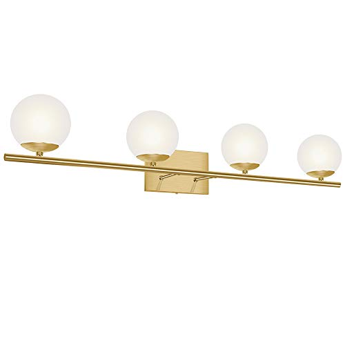 YHTlaeh New Bathroom Vanity Light Fixtures Brushed Brass Milk White Globe Glass Shade 4 Lights Modern Wall Bar Sconce Over Mirror