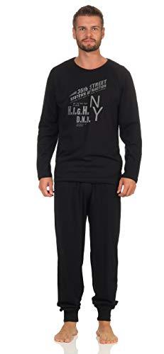 Good Deal Market Langer Schlafanzug Herren Gr. 50/M Blauschwarz mit Applikation Oberteil Uni mit Motivdruck, Hose Uni - Beinabschluss mit Bündchen