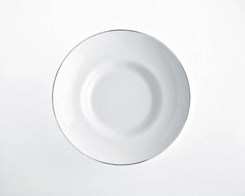 Alessi Sg70/2 Mami Platinum Assiette Creuse en Porcelaine Blanche, Décorée, Set de 6 Pièces