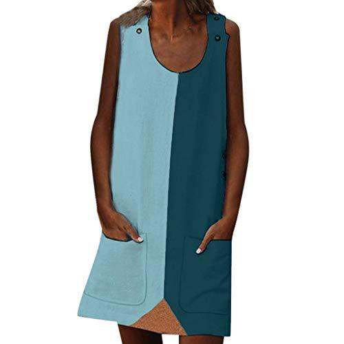Plus Size Dresses for Women Summer Sleeveless Splice Color Block Mini Dress with Pocket (XXXL, Light Blue)