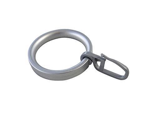 Gardinenringe Vorhangringe Flachringe mit Faltenhaken - Ring Ø 32 x 43 mm für Gardinenstangen Ø 20 mm - Kunststoff chrom matt lackiert - 10 Stück