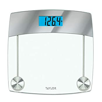 Taylor Precision Products Digital Scales for Body Weight Extra Highly Accurate 440 LB Capacity Unique Blue LCD Stainless Steel Accents Glass Platform 12.4 x 12.4 Inches Clear