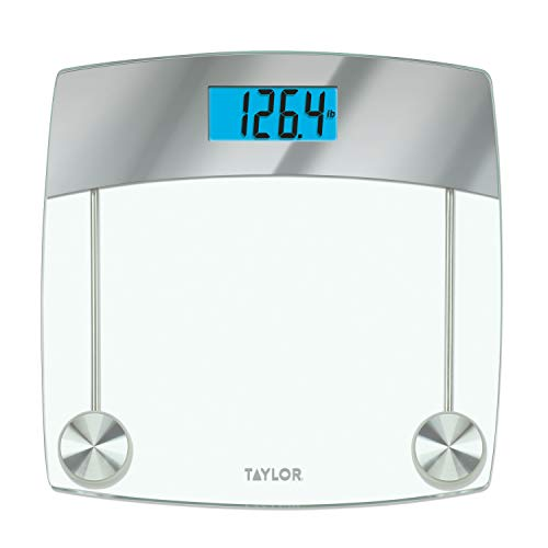 Taylor Precision Products Digital Scales for Body Weight, Extra Highly Accurate 440 LB Capacity, Unique Blue LCD, Stainless Steel Accents Glass Platform, 12.4 x 12.4 Inches, Clear