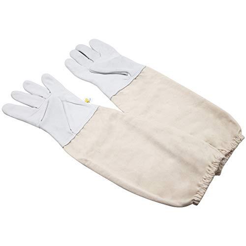 PROBEEALLYU Imker-Handschuhe, Ziegenleder, Imker-Schutzhandschuhe mit dicken belüfteten Baumwollärmeln, Imker-Handschuhe (XX-Large)