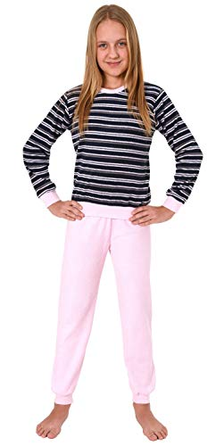 Mädchen Frottee Pyjama Langarm Schlafanzug mit Bündchen in Streifenoptik - 291 401 13 569, Farbe:Marine, Größe:158/164