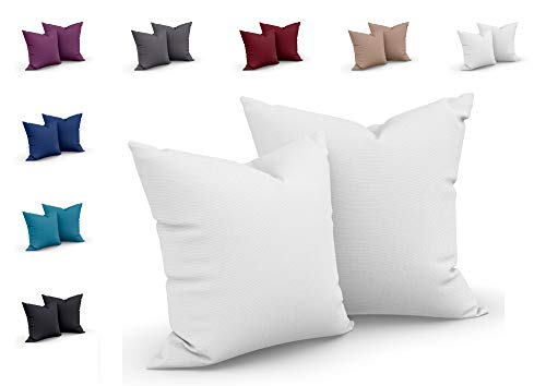 one-home 2er Set Mikrofaser Kissenbezug Kissenhülle Kopfkissen Hülle Uni, Farbe:Weiß, Maße:80 x 80 cm