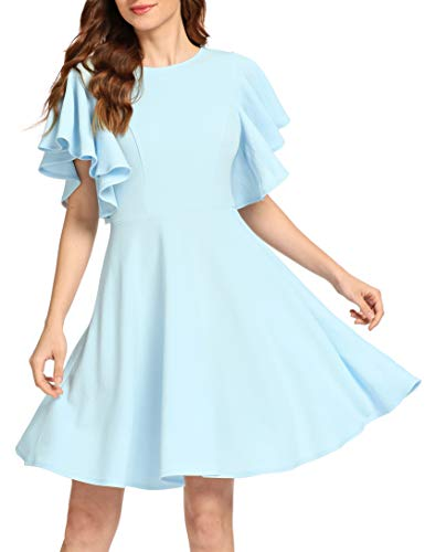 Romwe Women's Stretchy A Line Swing Flared Skater Cocktail Party Dress Light Blue M
