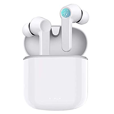 Wireless Headphones Bluetooth 5.0 Earphones True Wireless Earbuds HD Stereo Bass Sound Mini in Ear Bluetooth Earbuds with Built in Mic IPX5 Waterproof/30 Hrs with USB-C Charging for Work/Travel(White) by Prtukyt