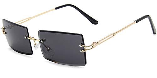 JFAN Randlose Sonnenbrille Für Damen Herren Rechteck Brille UV400 Schutz Durchsichtige Linse Sunglasses Vintage Eyewear G
