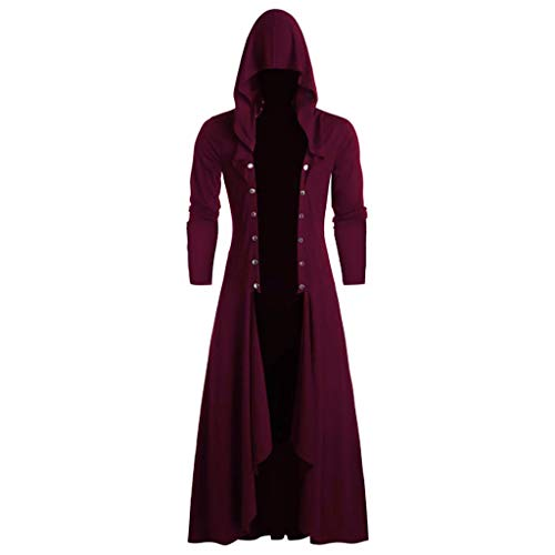 PPangUDing Kapuzenpullover Herren Vintage Gothic Steampunk Viktorianischen Mittelalter Cosplay Kostüm Frack Jacke, Persönlichkeit Männer Einreiher Mode Outdoor Winddichte Outwear