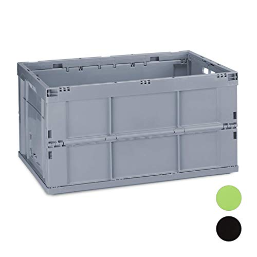 Relaxdays Profi Klappbox, stabil, Gewerbe, hochwertiger Kunststoff, Qualität, 60L, Kiste, HBT 31,5 x 58,5 x 40 cm, grau