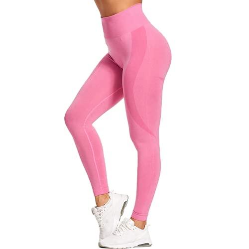 QTJY Estirar sin Costuras Fitness Yoga Pantalones de Entrenamiento Pantalones de chándal de Cintura Alta Push-up Leggings Mujeres Sentadillas Pantalones para Correr DS