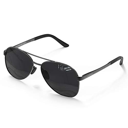 LUENX Herren Sonnenbrille Polarisierte Schwarz Linse- UV 400 Schutz Metall Grau Rahmen 60MM