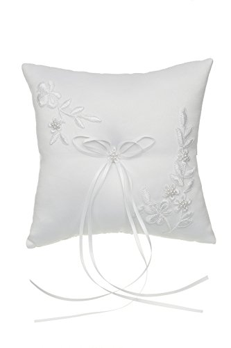 SAMKY Venus Jewelry Pearl Embroided Flower Leaves Wedding Ring Bearer Pillow 7 Inch x 7 Inch - White RP010W