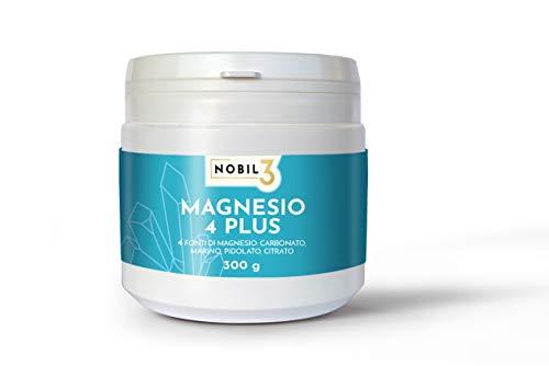 Nobil3 Magnesio 4 Plus 300 g in polvere, completo di Carbonato, Marino, Pidolato, Citrato, b6