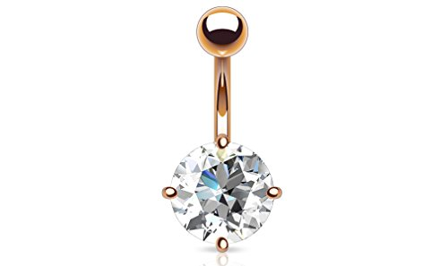 14G CZ Prong Rose Gold Belly Button Ring