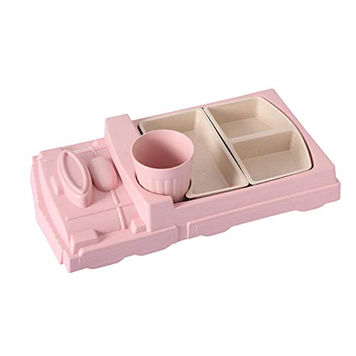 Fibre de bambou Protection de l'environnement Assiette pour enfants Train créatif Compartiment Vaisselle Bébé Plaque de séparation Plaque de séparation Régime alimentaire équilibré Sécurité, Rose