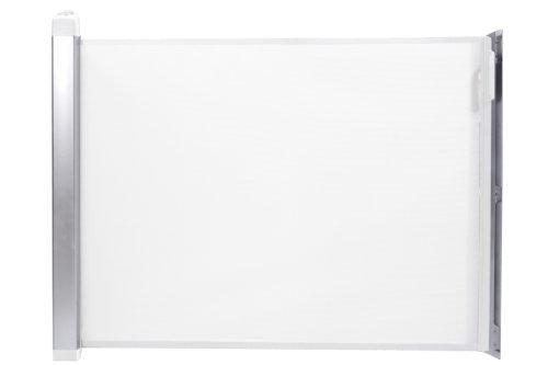 Lascal KiddyGuard Avant, Barrière de sécurité discrète pour les escaliers, Barrière de porte en toile avec boîtier en aluminium, Panneau extensible jusqu'à 120 cm, Blanc