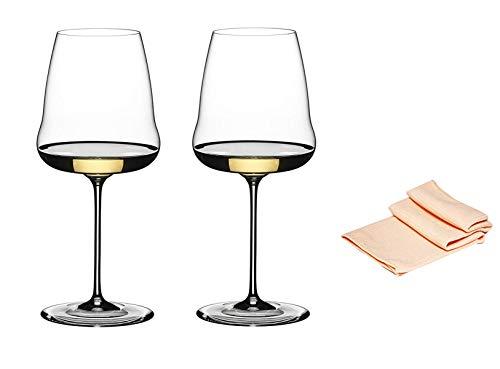 Dekomiro Riedel witte wijn glas set Winewings Chardonnay 1234/97 in set van 2 glasreinigingsdoekjes