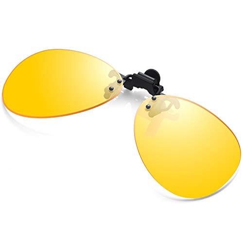 NightClipOnSunglasses FlipUpGlasses for Women Men Driving Yellow Lense