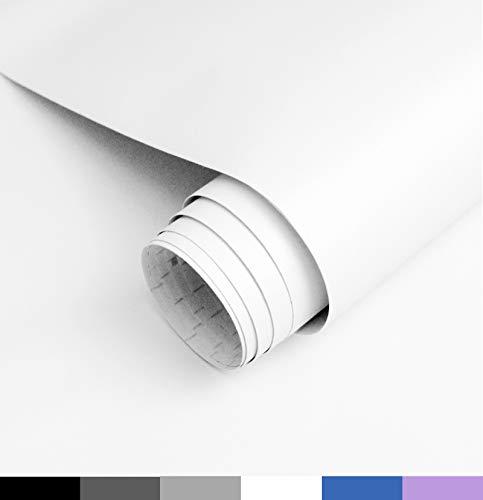 Homease Klebefolie Möbel Selbstklebende, PVC Selbstklebende Tapete Weiß Matte, 5 x 0.6 M, verdickt wasserdicht Möbelfolie, Dekofolie für Küchen Schränken Wand Tischplatte
