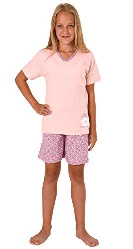Süsser Mädchen Shorty Pyjama Schlafanzug Kurzarm mit Donut als Motiv - 63865, Größe:164, Farbe:Altrose