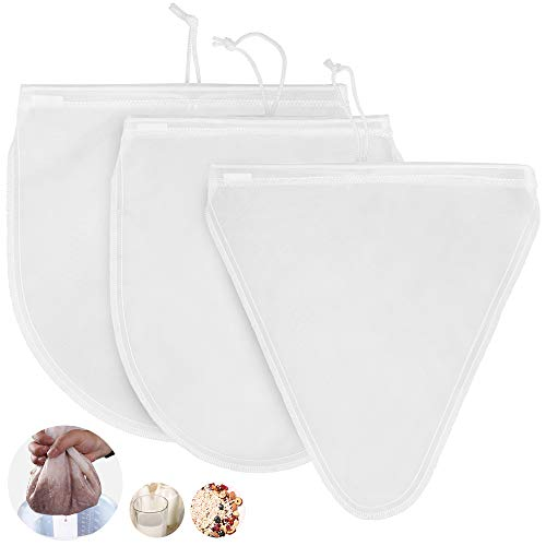 WD&CD 3 Pieces Nut Milk Bag Filter Cloth Multiple Usage Reusable Food Strainers for Best Almond Milk Celery Juicing Cold Brew Coffee Tea Yogurt Strainer
