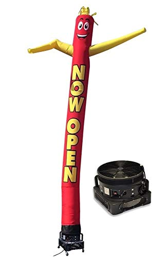 20ft Inflatable Tube Man Now Open (Red/Yellow) - Complete with 1HP 2 Speed Air Blower