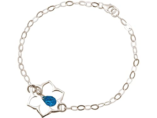 Gemshine - Pulsera - Plata de Ley - Flor de Loto - Mandala - Cuarzo de Topacio - Lágrima - Gota - Azul - YOGA