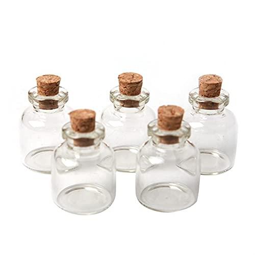 QFDM Botella de Almacenamiento 10pcs tapón de Corcho 22 * 28 mm Botella de Vidrio pequeño frascos de Vidrio con Corcho Decorativo Deseo de Cristal frascos Botellas, Jarras y Cajas (Color : 5pcs)