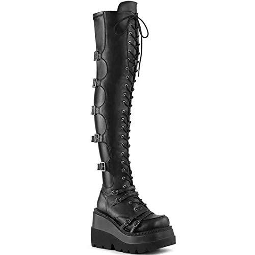 AQTEC Botas con Cordones para Mujer Cuero Plataforma de cuña De Tacón Alto sobre La Rodilla Botas Motero Militar de Combate Punk gótico Botas largas,Negro,36 EU
