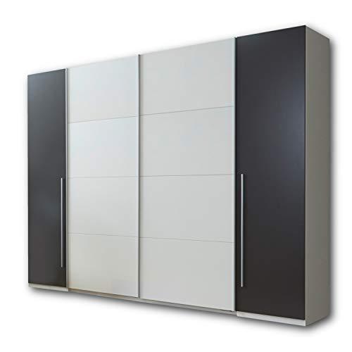 MATCH Eleganter Kleiderschrank mit viel Stauraum - Vielseitiger Schwebetürenschrank in Lava Optik, Weiß - 315 x 226 x 60 cm (B/H/T)