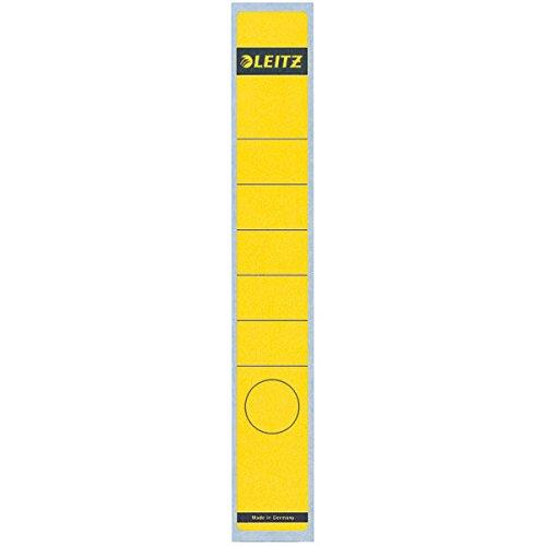 Leitz Rückenschild selbstklebend für Standard- und Hartpappe-Ordner, 10 Stück, 50 mm Rückenbreite, Langes und schmales Format, 39 x 285 mm, Papier, gelb, 16480015