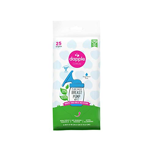 Dapple Baby Breast Pump Cleaner Wipes, Plant-Based, Fragrance Free, 25 Count, Hypoallergenic, Great for Cleaning Breast Pump Parts, White