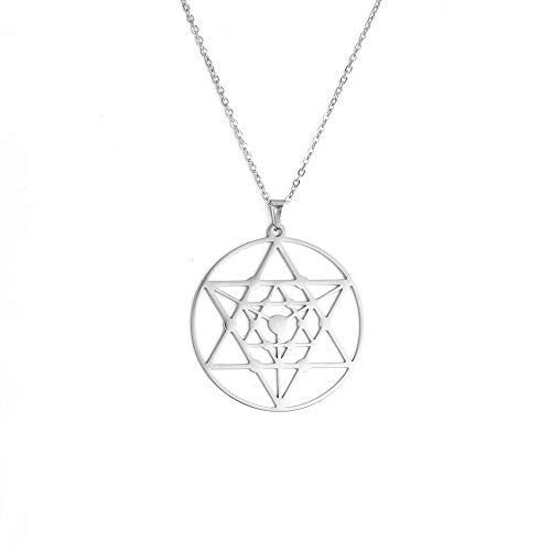TEAMER Magen Stainless Steel Star of David Charms Talisman Necklace David Hollow Pendants Jewellery SLIVER