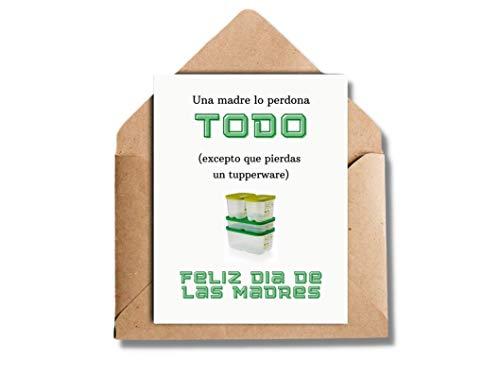 TUPPERWARE Tarjeta Día de las Madres Español, Regalo para Madres, Tarjetas en Español, Card in Spanish A2, Spanish Mom Card, Mother's Day