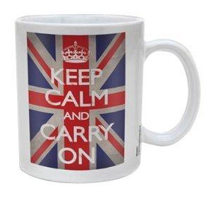 Keep Calm Pyramid International - Taza, diseño con Bandera británica y Texto and Carry...
