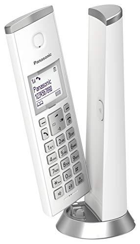 Panasonic KX-TGK210 - Teléfono Fijo Inalámbrico de Diseño, LCD 1.5', Identificador de Llamadas, Agenda de 50 Números, Bloqueo de Llamada, Modo ECO, color Blanco, 1 Unidad