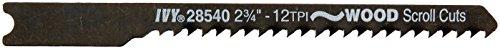 IVY Classic 28540 2-3/4-Inch 12 TPI U-Shank Jig Saw Blade, Wood Fine Scroll Cutting, High-Carbon Steel, 3/Card