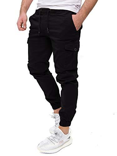 PITTMAN Cargo Hose Herren Darius - Männer Chinos by Pit Jeans - Schwarze Cargohose - Lange Jogginghosen Hosen Pants lang, Schwarz (Black), W31/L34