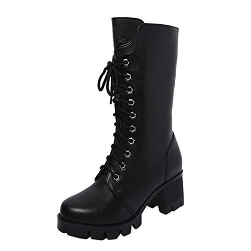 VJGOAL Damen Stiefel, Damen Mode Roman Ankle Booties Leder Ritter Stiefel Casual Zip Cowboy Winterschuhe (Schwarz, 37 EU)