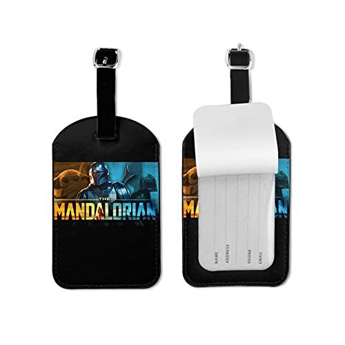 Etiqueta de equipaje mandalorian con nombre tarjeta de identificación colorida segura maleta de viaje etiqueta de equipaje etiquetas de microfibra cuero PU 2.7* 4.3 pulgadas