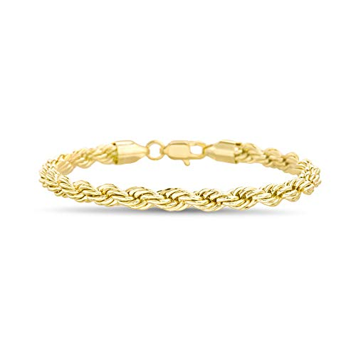 Nautica 6mm 8.5 Inch Rope Chain Bracelet for Men or Women in Yellow Gold Plated Brass