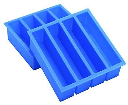 Silicone Ice Cube Trays with Easy Release Ice Cubes for Whiskey, Butter Mold, Set of 2 Blue