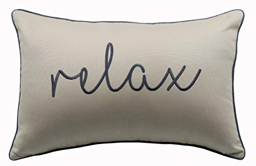 YugTex Relax Sentiment Embroidered Decorative Lumbar Accent Throw Pillow Cover - Decor for Bed, Sofa or Couch - 12x18 Inches, Natural