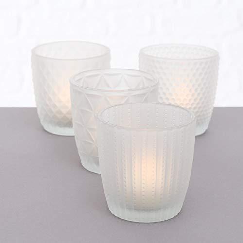 Boltze Teelichthalter 4X Teelichtgläser Deko Windlicht Marilu Matt 4X Glas Frost